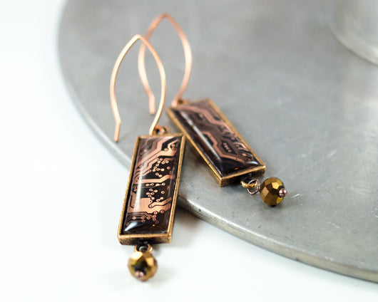 rectangle copper circuit board dangle earrings with faceted glass bead