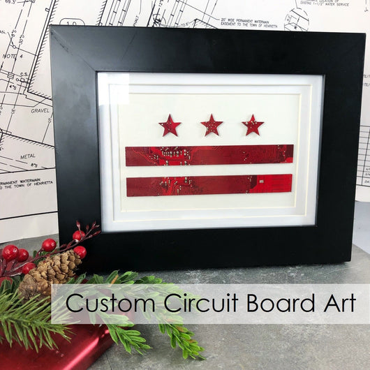 circuit board art in shape of washington dc flag
