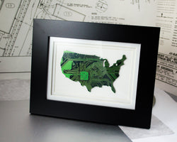 framed USA art made from circuit board