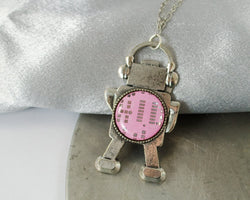 pink circuit board robot necklace
