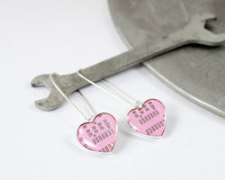 pink circuit board earrings