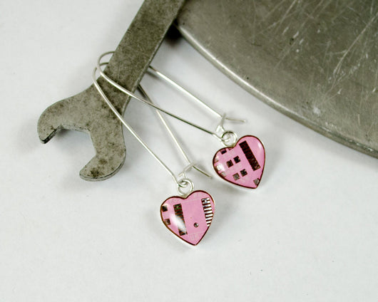 small pink heart circuit board earrings