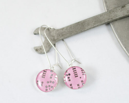 handmade pink circuit board dangle earrings