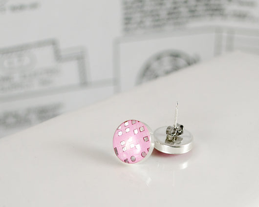 pink circuit board post earrings