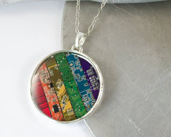 rainbow circuit board necklace
