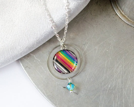 handmade rainbow ribbon cable necklace with loop and beaded detail