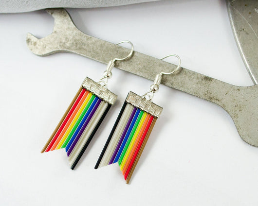 handmade rainbow ribbon cable banner earrings