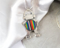 handmade rainbow robot necklace made from old electronics