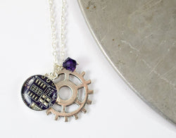 Gear and Circuit Board Charm Necklace