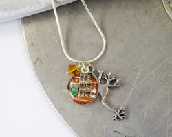 Neuron and Circuit Board Charm Necklace