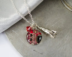 Rocket and Circuit Board Charm Necklace