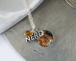 Circuit Board and NERD Charm Necklace