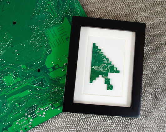 mini handmade framed art made from recycled green circuit board
