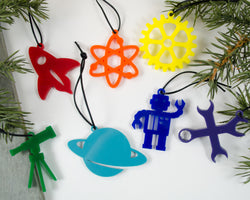 set of 7 handmade acrylic physics and engineering ornaments