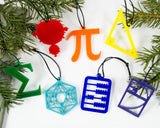 rainbow set of handmade laser cut math ornaments