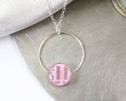 pink circuit board necklace hand fabricated from sterling silver