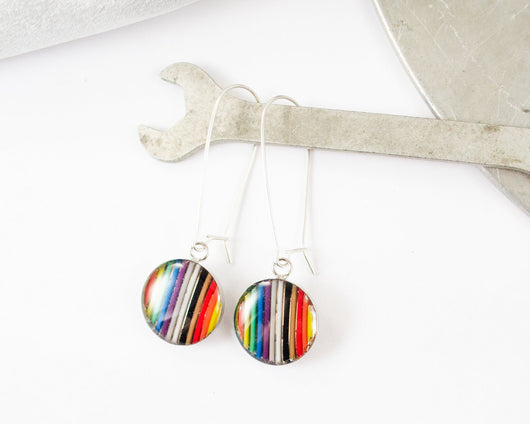 handmade rainbow ribbon cable earrings with resin