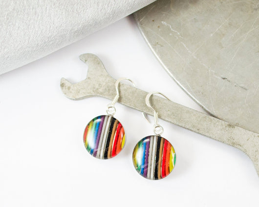 handmade rainbow ribbon cable round earrings