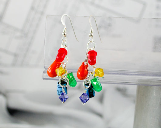 Rainbow Electronic Component Cluster Earrings, Sterling Silver