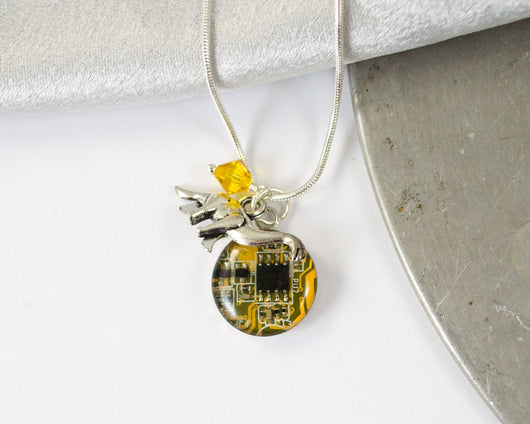 Dinosaur and Circuit Board Charm Necklace