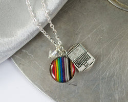rainbow ribbon cable necklace with laptop charm