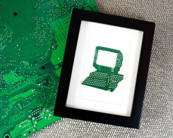 framed art handmade from recycled green circuit board