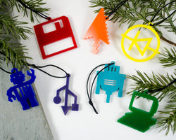 set of 7 handmade electrical engineering and computer ornaments