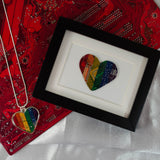 rainbow circuit board framed art piece and heart necklace