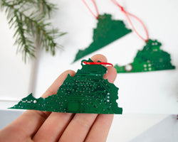 shape of the state of virginia made from upcycled green circuit board