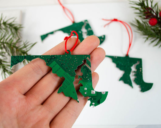 Maryland state shape made from upcycled green circuit board