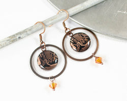 handmade copper earrings made from recycled motherboards