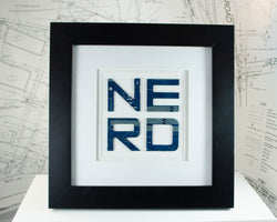 handmade framed art saying nerd made from recycled motherboards