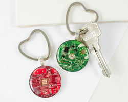 handmade circuit board keychain with heart shaped keyring