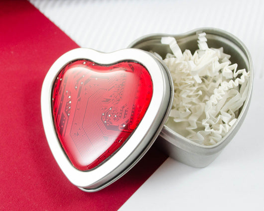 heart shaped tin with red circuit board decoration