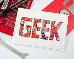 geek card made from recycled circuit board
