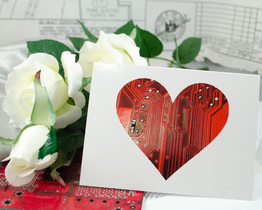 greeting card with circuit board heart shape