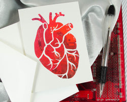 circuit board photo card of anatomical heart