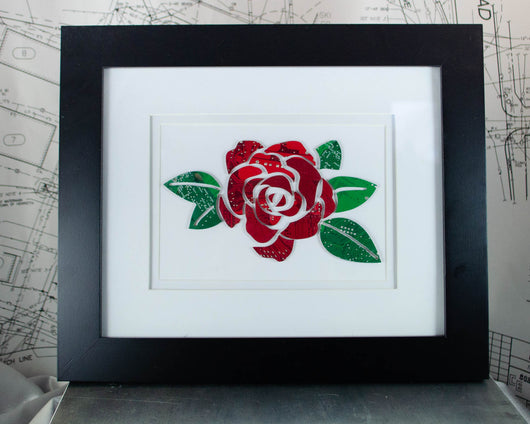 rose artwork made from upcycled circuit boards
