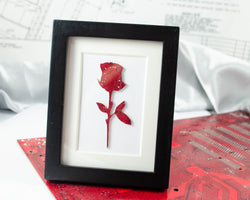 mini rose art piece made from recycled circuit boards