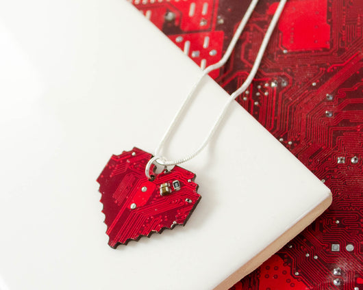 pixelated heart necklace made from recycled circuit boards