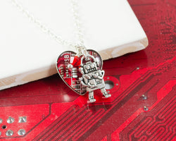 heart shaped circuit board necklace with robot charm