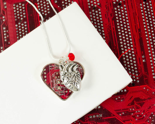 circuit board heart necklace with anatomical heart charm