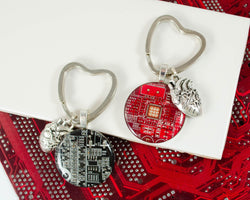 circuit board keychain with anatomical heart charm and heart shaped keyring