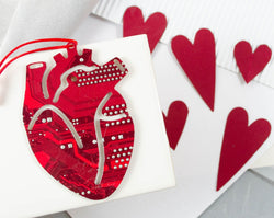 anatomical heart ornament made from upcycled circuit board