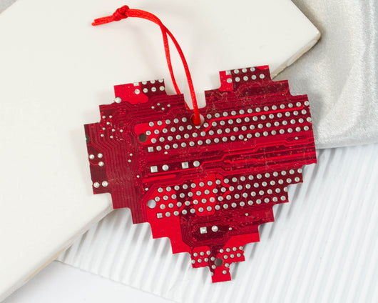 handmade circuit board pixelated heart ornament