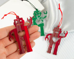 handmade robot ornaments made from recycled circuit boards