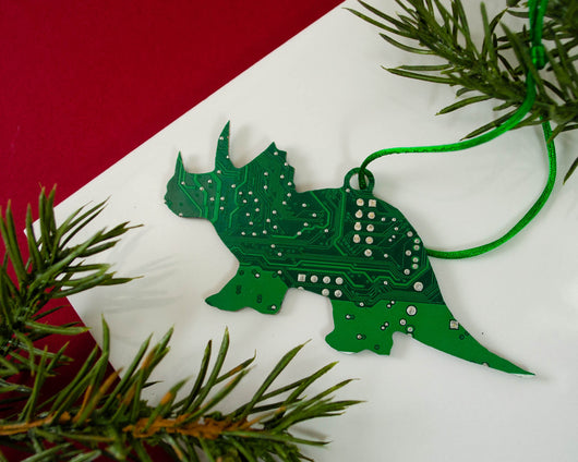 Triceratops Circuit Board Ornament