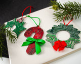 Candy Cane, Holly & Wreath Ornament Gift Set