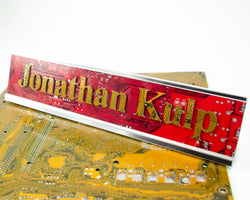 personalized handmade name sign made from recycled circuit boards