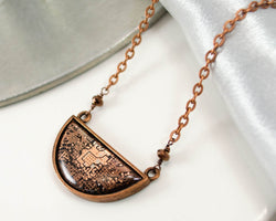 handmade copper recycled circuit board necklace in semicircle shape with faceted copper glass beads and copper chain